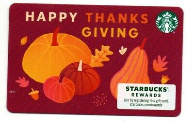 Starbucks Thanksgiving Gift Card No $ Value Collectible Pumpkins