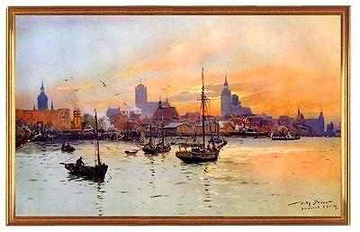 Deutsches Reich Stralsund Hafen Gemälde W. Stöwer 18 LW