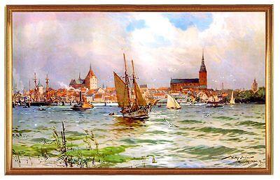 Deutsches Reich Rostock Hafen 1909 Gemälde Stöwer 17 LW