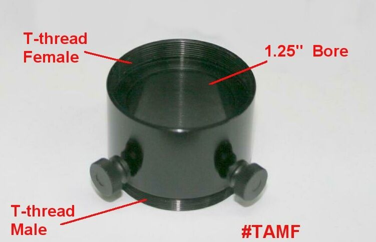 "ScopeStuff #TAMF - T-Thread M-to-F Adapter/Extender with 1.25"" Bore, Thumbscrews"