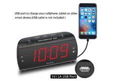 DreamSky Large Alarm Clock Radio with FM Radio USB Port for Charging 1.8 L B40