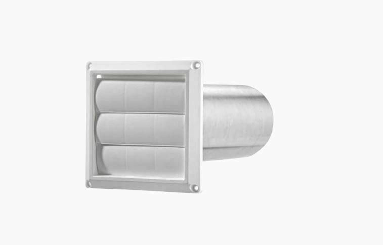 Lambro 4-in Plastic Dryer Vent Hood with Through the Wall Pi