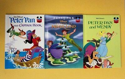 3 Disney Books Peter Pan Wendy Captin Hook Never Land World  - Captin Hook