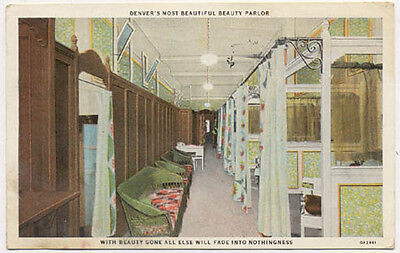 SALE* 1931 DENVER INTERIOR BEAUTY PARLOR OLD POSTCARD *at 217- 16th