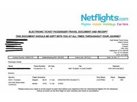 Flight ticket Emirates Dubai 31st January