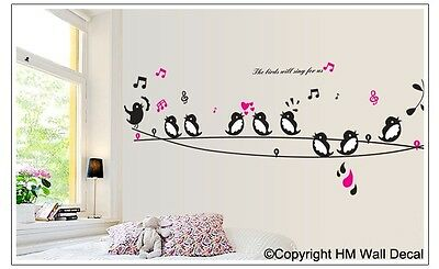 9 BIRDS SINGING ON THE WIRE  Wall Sticker Decal for your living space