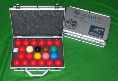 NEW IG ARAMITH SUPERPRO WORLD CHAMPIONSHIP SNOOKER TABLE BALLS IN ALUMINIUM CASE
