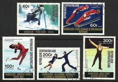 Central Africa Rep 1976 - Innsbruck Olympic Medal Winners - Complete set 5 CTO