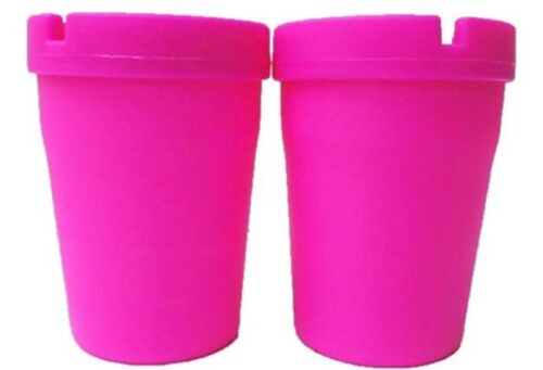 2ct Durable Bright Hot Pink Cigarette Home Auto Car Portable Cup Holder Ashtrays