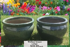 Set of brand new molted green outdoor plant pots!