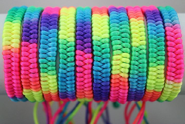 "Wholesale 50 Mixed Lots Hand-weave Colorful Braid Rainbow Bracelets0.36""width"