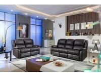 HARVEY LEATHER RECLINER SOFA SUITE NEW BLACK OR BROWN 3+2