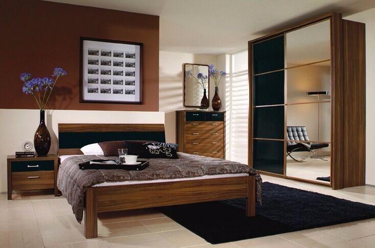 Mirror Wardrobe Bensons For Beds   Prague Range Black Gloss Mahogany 2  Sliding Doors Large 235cm