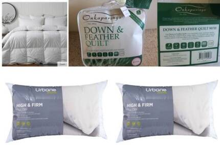 BRAND NEW QUALITY  feather doona KS, 2 firm NEW pillows