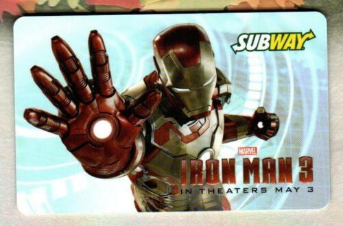 SUBWAY Iron Man 3 ( Blue ) 2013 Gift Card ( $0 )