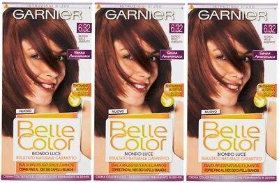 3 x Garnier Belle Color 6.32 Amber Honey Blonde - Permanent Hair Colourant Dye