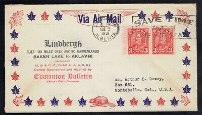 CANADA 1931 LINDBERGH FLIES THE ARCTIC BARRENLANDS COMMEMORATIVE COVER