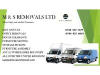 Man and van hire from £15 pr hour 24/7 short notice house office flat student removals services