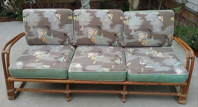 Mid Century Heywood Wakefield Bamboo Couch w/ Original Atomic Fabric Tagged