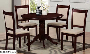 "SOLID WOOD 5PCS DINNING SET WITH 42"" ROUND TABLE - FREE DELIVERY"