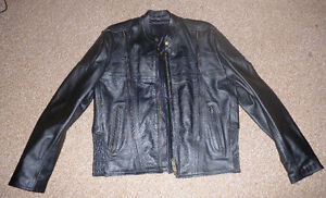 Men's black leather biker jacket size