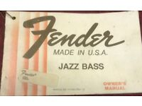 Fender jazz bass owners manual