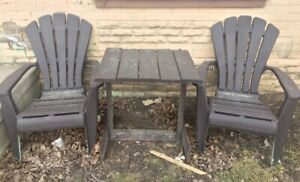 2 Plastic Chairs and Wooden Outdoor Table