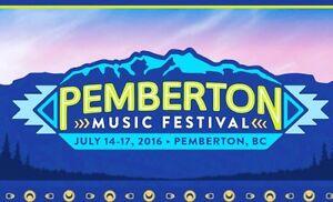 2 GA PEMBERTON 2016 tickets PLUS campsite (up to 4 people)