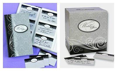 Wishing Well Card Box, Keepsake Book & 84 Guest Cards Damask Black White Grey  - Wishing Well Card Box