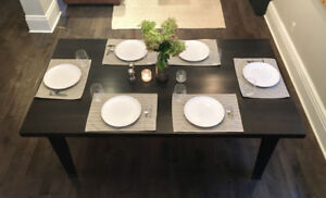Stunning Dark Grey Solid Maple Farmhouse Table /Desk  6 Chairs