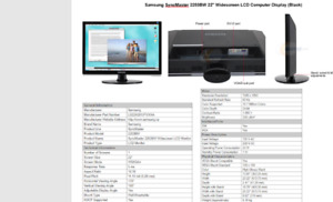 """Samsung SyncMaster 2253BW 22"""" Widescreen LCD Computer Display"""