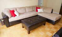 LEATHER & SUEDE SECTIONAL COUCH