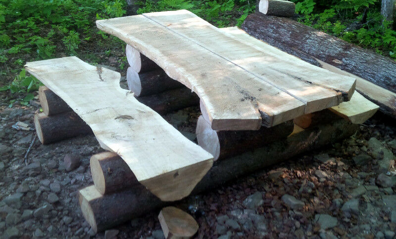 Log Wood Slab Bench Log Tables Picnic Table Patio