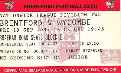 Ticket - Brentford v Wycombe Wanderers 19.09.97