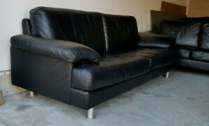 Mobilia Black Leather Sofa Set Cost $5499 New