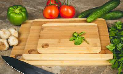 Two Tone Bamboo Cutting Boards Set of 3 - Durable Chopping Board Set