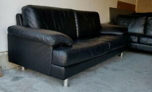 Mobilia Top Quality Black 100% Leather Sofa Set