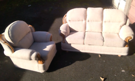 Biege high back sofa n armchair as new delivery available