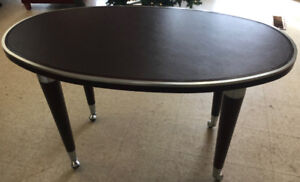 Oval Shaped Writing Desk or Table on casters