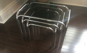 Mid Century Chrome & Tinted Smoked Glass Nesting Side Tables
