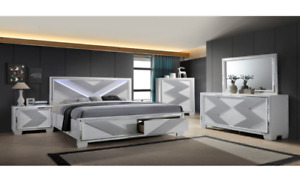 Queen Roma white and grey bedroom suite with LED lighting, SALE