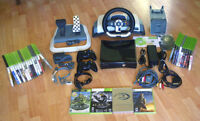 XBOX 360 S 250GB Console 2 Controllers 30 Games and Racing Wheel