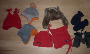 5 winter hats, 2 pairs of gloves, size 3 - 5 years