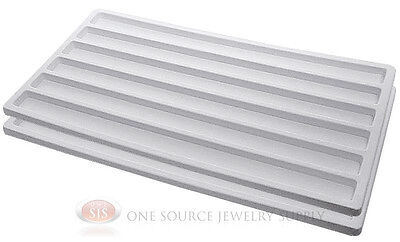 2 White Insert Tray Liners With 6 Slot Each Drawer Organize Jewelry Displays