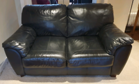 SOLD VGC smart 2 seater genuine black leather sofa