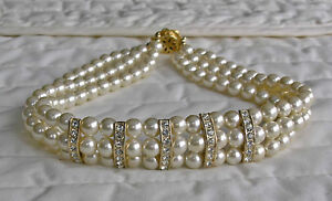 Faux Pearl 3 Strand Choker With 5 Sets Rhinestone Bands