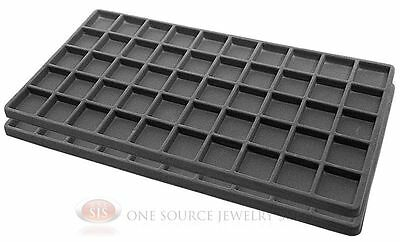 2 Gray Insert Tray Liners W 50 Compartments Drawer Organizer Jewelry Displays