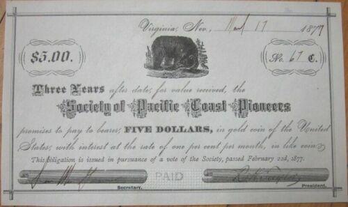 Virginia City, NV 1877 Certificate: