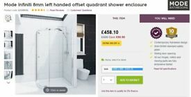 Mode Infiniti 800x1000mm Left Hand Quadrant Shower Enclosure - Cost £450 new