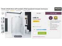 Mode Infiniti 800x1000mm Left Hand Quadrant Shower Enclosure - Cost £450 new